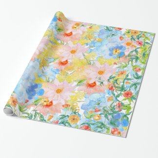 Pink blue yellow watercolor botanical floral wrapping paper