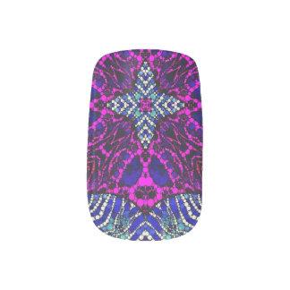 Pink Blue Zebra Abstract Minx Nail Art