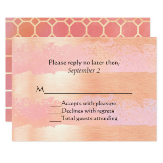 Pink Blush and Gold Romance Wedding RSVP Card