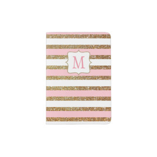 Pink Blush and Gold Striped Passport Holder