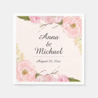 Pink Blush Botanical Floral Wedding Napkin Disposable Napkin