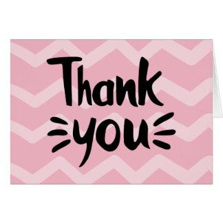 Pink & Blush Chevron Stripes Black Thank You Party Card