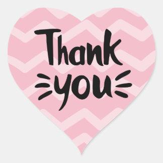 Pink & Blush Chevron Stripes Black Thank You Party Heart Sticker