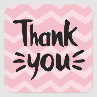 Pink & Blush Chevron Stripes Black Thank You Party Square Sticker