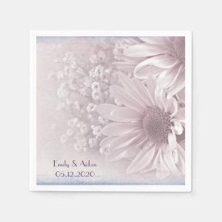 pink blush daisy bouquet napkin