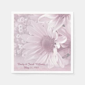 pink blush daisy wedding bouquet disposable napkins