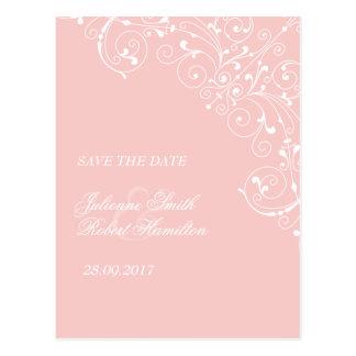 Pink Blush Delicate Vintage Wedding Save the Date Postcard