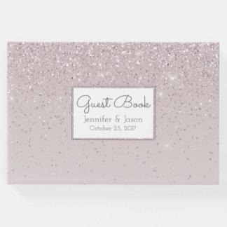 Pink Blush Glittery Wedding Guest Book