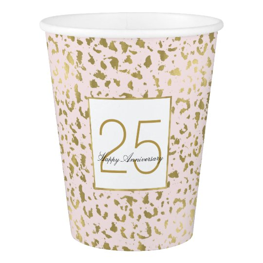 Pink Blush Gold Animal Print Birthday Paper Cup