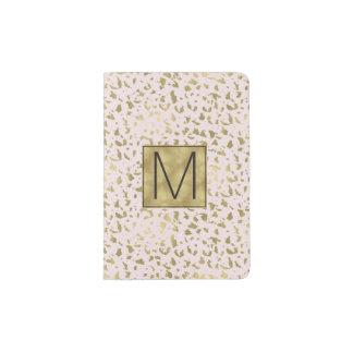 Pink Blush Gold Animal Print Monogram Passport Holder