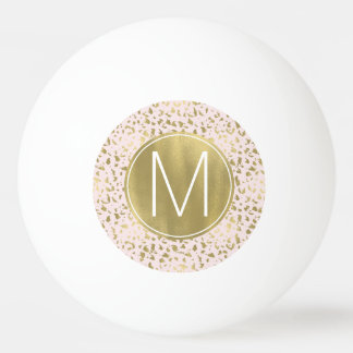 Pink Blush Gold Animal Print Monogram Ping Pong Ball