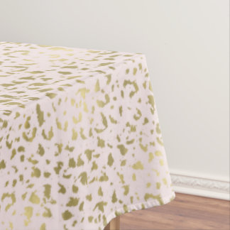 Pink Blush Gold Animal Print Tablecloth