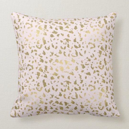 Pink Blush Gold Animal Print Throw Pillow