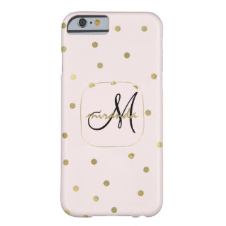 Pink Blush Gold Confetti Monogram with Name Barely There iPhone 6 Case
