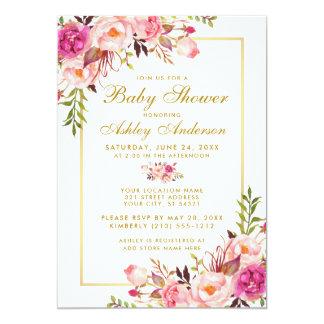Pink Blush Gold Floral Baby Shower Invitation