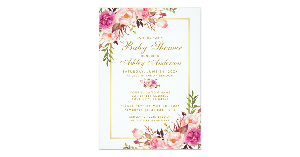Pink Blush Gold Floral Baby Shower Invitation | Zazzle.ca