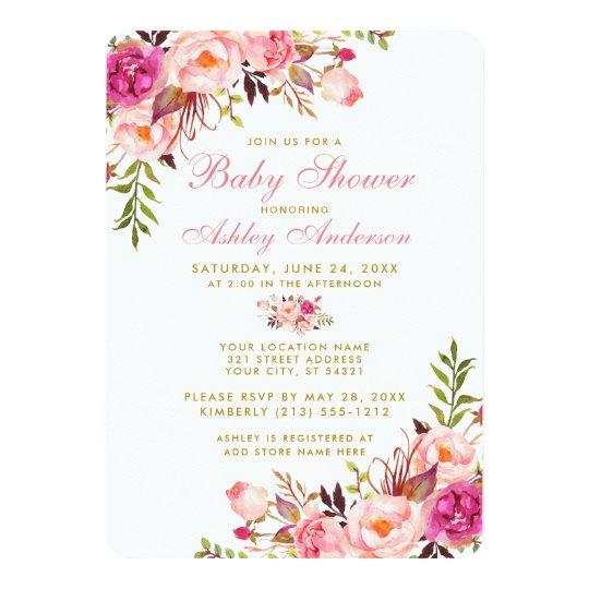 Pink Blush Gold Floral Baby Shower Invitation RP