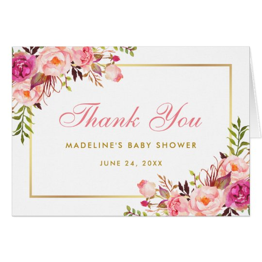 Pink Blush Gold Floral Baby Shower Thanks Note P Card