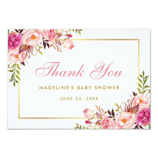 Pink Blush Gold Floral Baby Shower Thanks P Card