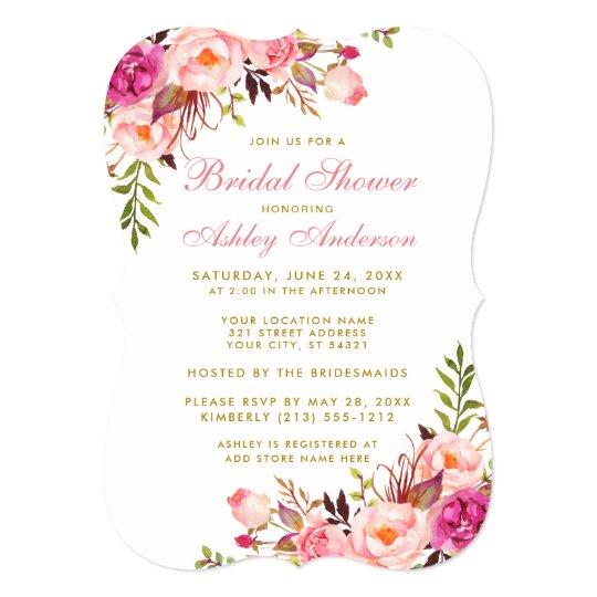 Pink Blush Gold Floral Bridal Shower Invitation BP