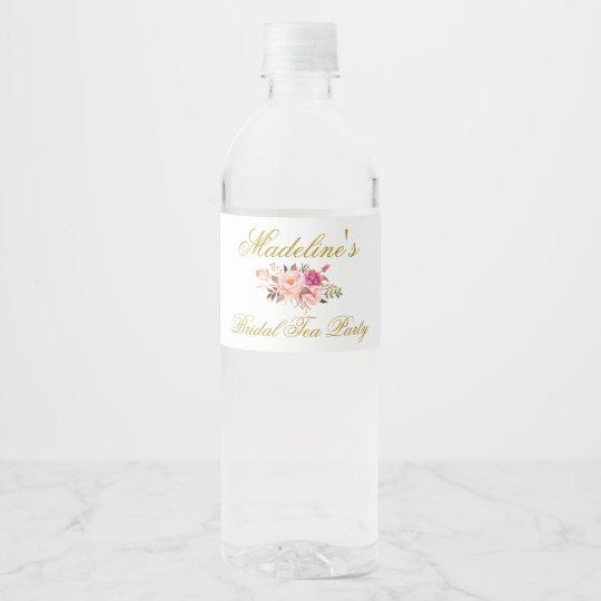 Pink Blush Gold Floral Bridal Shower Tea Party Water Bottle Label