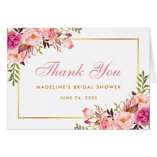 Pink Blush Gold Floral Bridal Shower Thanks Note P Card