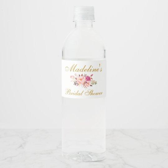 Pink Blush Gold Floral Bridal Shower Water Bottle Label