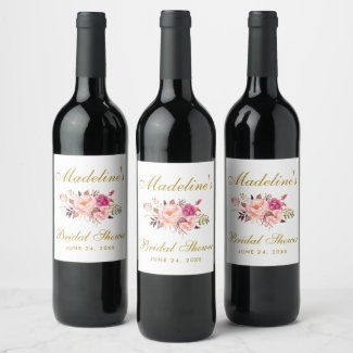 Pink Blush Gold Floral Bridal Shower Wine Label