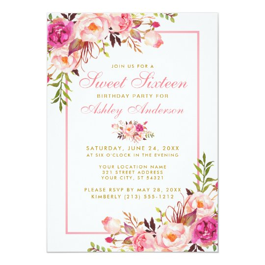 Pink Blush Gold Floral Sweet 16 Birthday Invite