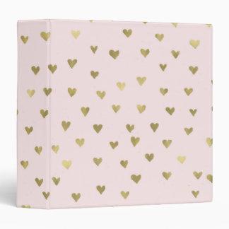 Pink Blush Gold Hearts 3 Ring Binders