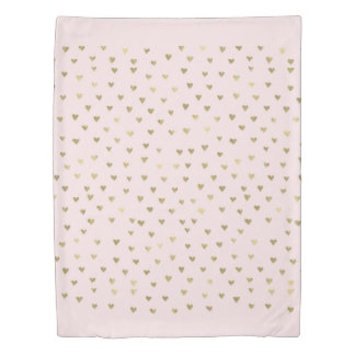 Pink Blush Gold Hearts Duvet Cover