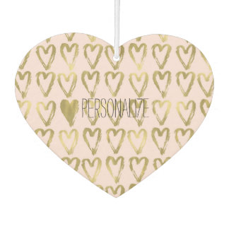 Pink Blush Gold Hearts Personalized Car Air Freshener