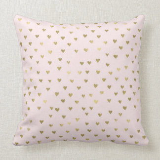 Pink Blush Gold Hearts Throw Pillow