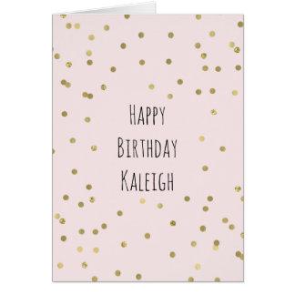 Pink Blush Gold Sparkle Confetti Birthday Card