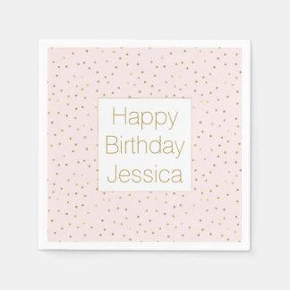 Pink Blush Gold Sparkle Confetti Birthday Paper Napkin