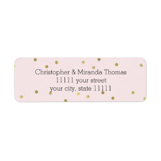 Pink Blush Gold Sparkle Confetti Personalized Return Address Label