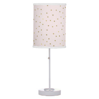 Pink Blush Gold Sparkle Confetti Table Lamp