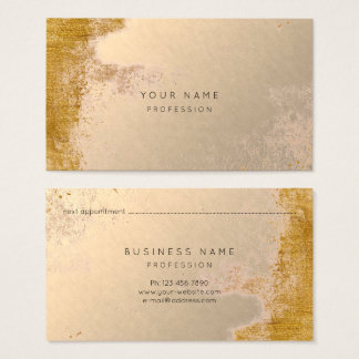 Pink Blush Grungy Gold Makeup Appointment Card
