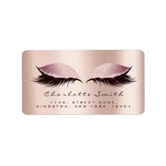 Pink Blush Makeup Lashes Return Address Labels
