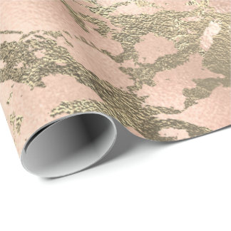 Pink Blush Painting Blush Gold Marble Shiny Glam Wrapping Paper