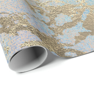 Pink Blush Painting Tiffany Gold Marble Shiny Glam Wrapping Paper