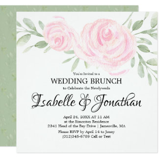 Pink Blush Rose Wedding Brunch Invitations
