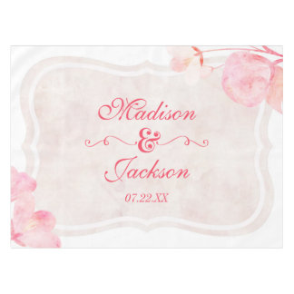 Pink & Blush Watercolor Floral Wedding Monogram Tablecloth