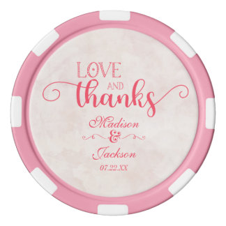 Pink & Blush Watercolor Floral Wedding Thank You Set Of Poker Chips