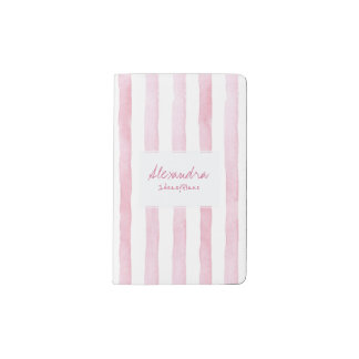 Pink blush watercolor stripes your name pocket moleskine notebook