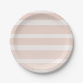 Pink Blush & White Modern Chic Stripes Paper Plate