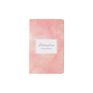 Pink blush white painted watercolor your name pocket moleskine notebook