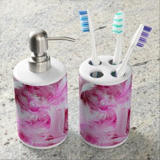 Pink Boa Bathroom Set