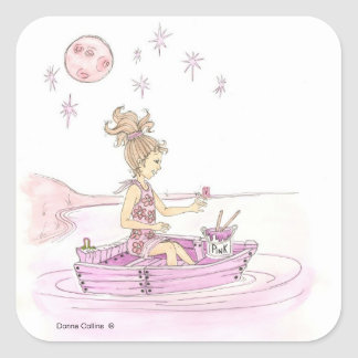 Pink Boat Sticker