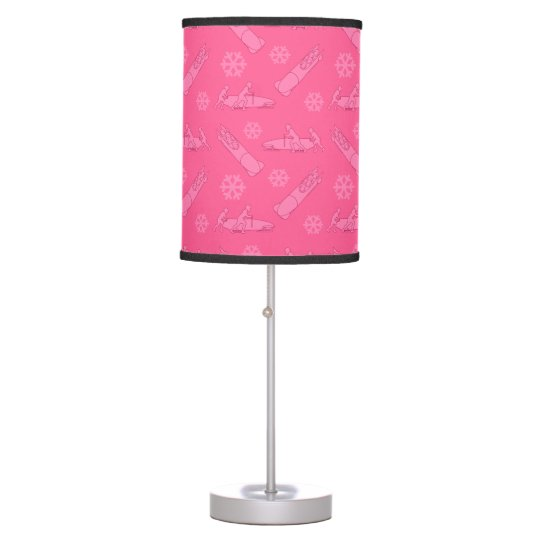 Pink bobsled pattern desk lamps